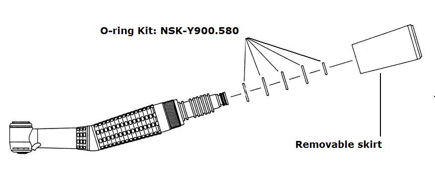 NSK Coupling O-ring on each handpiece